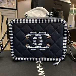 Chanel Quilted Strip CC Mini Filigree Vanity Case